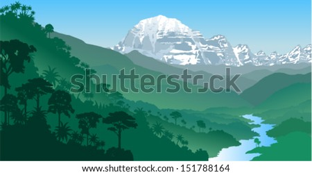 Vector River in Jungle Rainforest with mountains - stock vector