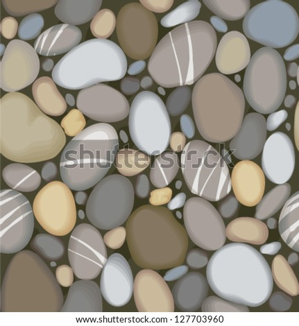 Vector river pebbles seamless pattern - stock vector