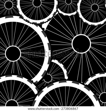 vector road and mountain bike wheels and tires pattern