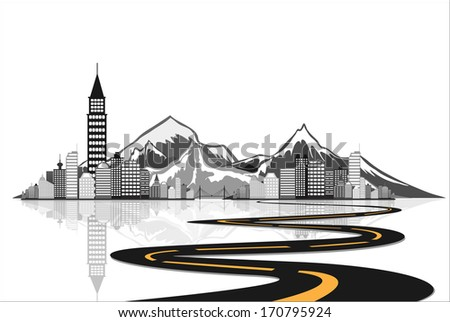 Vector - road leads to city iceberg. - stock vector