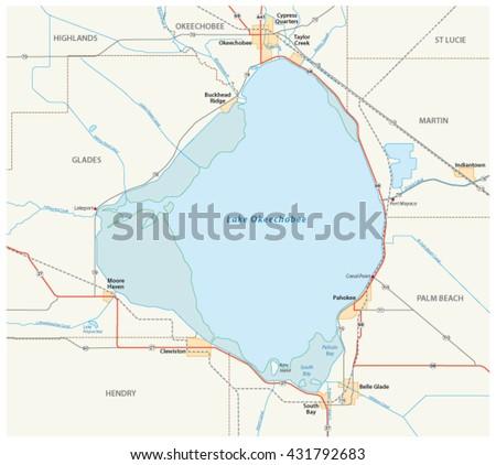 Vector Road Map Lake Okeechobee Us Stock Vector 431792683 Shutterstock