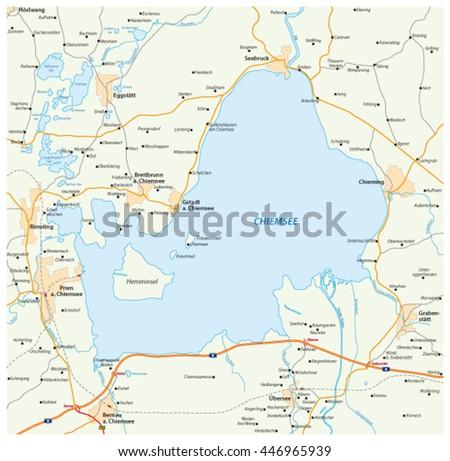 Vector Road Map Bavarian Lake Chiemsee Stock Vector 2018 446965939