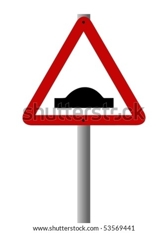 Vector road sign warning people about a speed bump ahead.