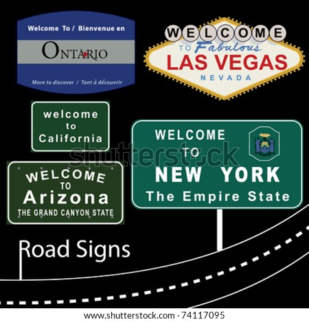"VECTOR Road Signs ""Welcome To..."""