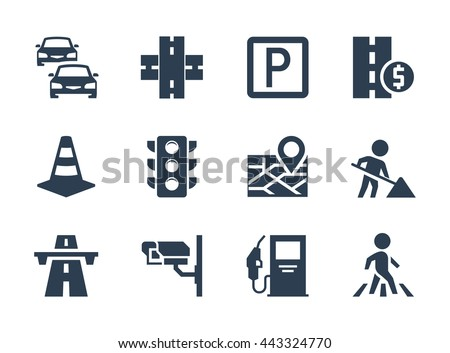 Vector road traffic related icon set - stock vector
