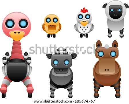 vector robot farm animals set 2 - Separate layers for easy editing