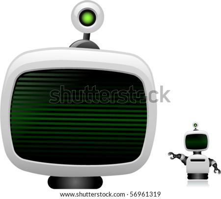 Vector Robot Head and Small Robot - stock vector