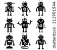 Vector robot silhouettes set - stock photo