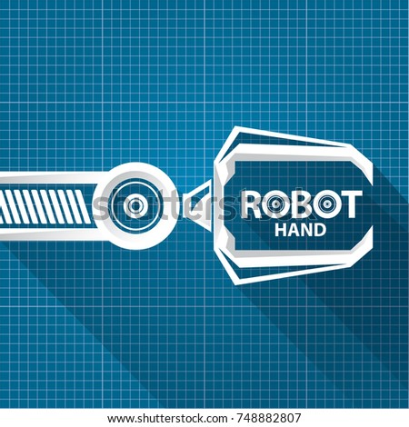 Robot blueprint stock images royalty free images vectors vector robotic arm symbol on blueprint paper background robot hand technology background design template malvernweather Choice Image