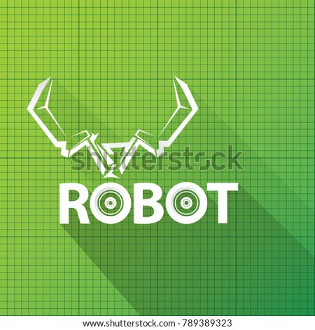 Vector robotic arm symbol on green stock vector hd royalty free vector robotic arm symbol on green blueprint paper background robot hand technology background design malvernweather Image collections
