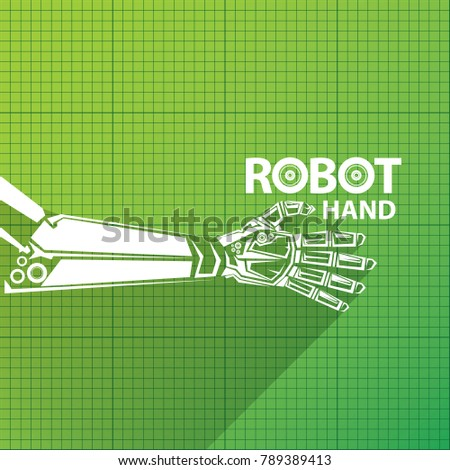 Vector robotic arm symbol on green stock vector 2018 789389413 vector robotic arm symbol on green blueprint paper background robot hand technology background design malvernweather Image collections