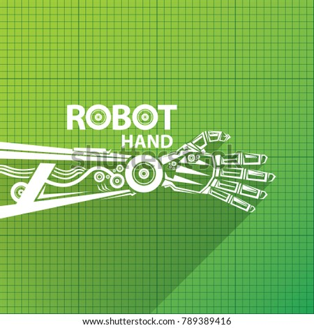 Vector robotic arm symbol on green stock vector 789389416 shutterstock vector robotic arm symbol on green blueprint paper background robot hand technology background design malvernweather Image collections
