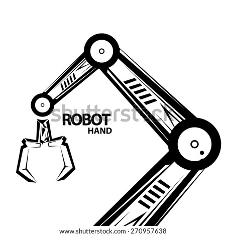 Stock Vector Vector Robotic Arm Black Symbol Robot Handon Industrial Robot Diagram