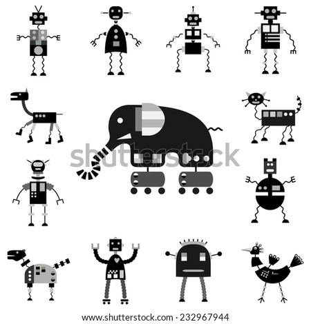 Vector robots set, monochrome cartoon collection, isolated on white background - stock vector