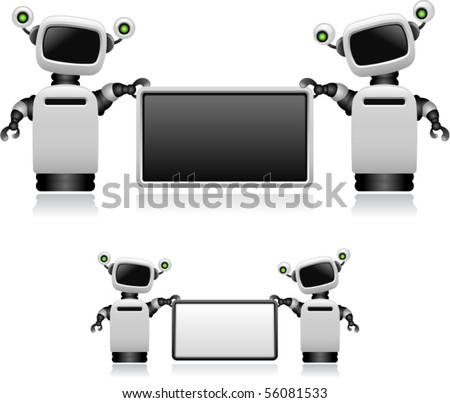 Vector Robots With Sign - stock vector
