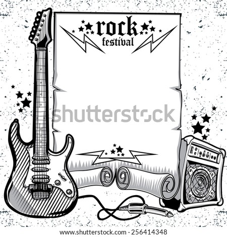 Vector rock festival poster - stock vector