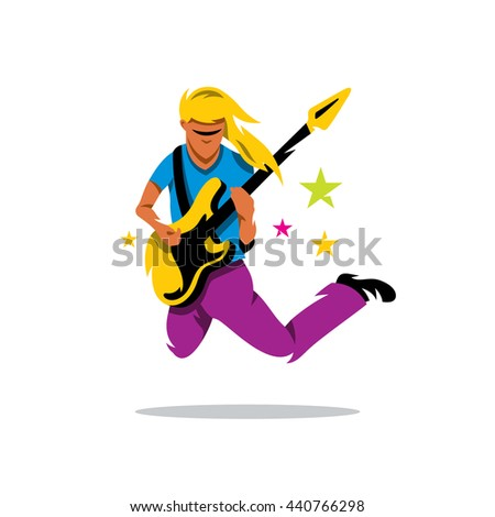 Vector Rock Guitarist Cartoon Illustration. Musician is jumping with guitar. Unusual Logo template isolated on a white background - stock vector