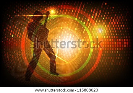 vector rock guitarist silhouette on colorful background, eps 10 file, gradient mesh and transparency used, raster version available