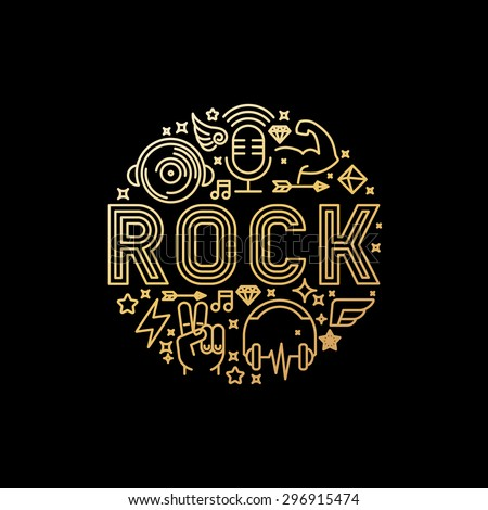 Vector rock music concept in trendy linear style on black background - abstract illustration for t-shirt