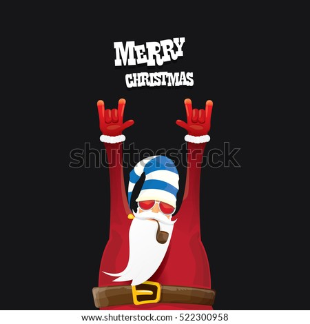 vector rock n roll santa claus with smoking pipe, santa beard and funky santa hat. Christmas hipster poster for party or greeting card. vector bad santa xmas poster background