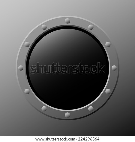 vector rocket window with the light reflection - stock vector