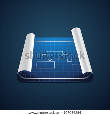 Vector roll of blue paper with technical drawing - stock vector
