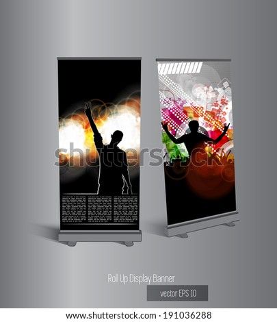 Vector roll up banner display template for designers  - stock vector