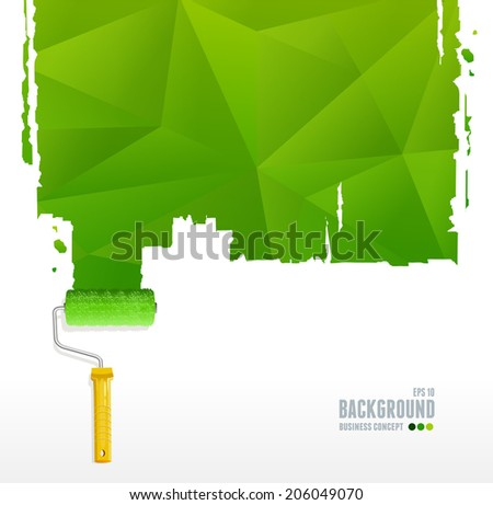 Vector roller brush and triangle background for text - stock vector