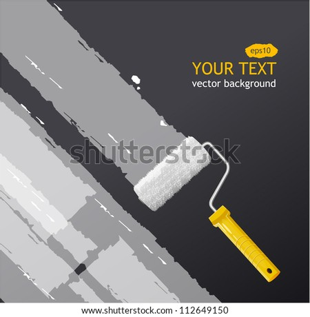 Vector roller brush with white paint - stock vector