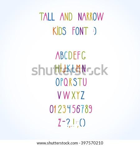 vector roman tall& narrow hand drawn alphabet - stock vector