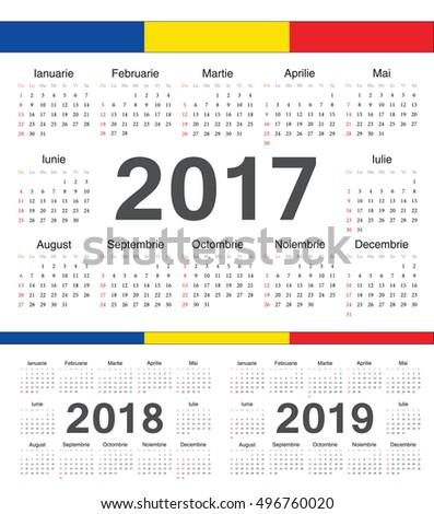 Vector Romanian Circle Calendars 2017 2018 Stock Vector 496760020 ...
