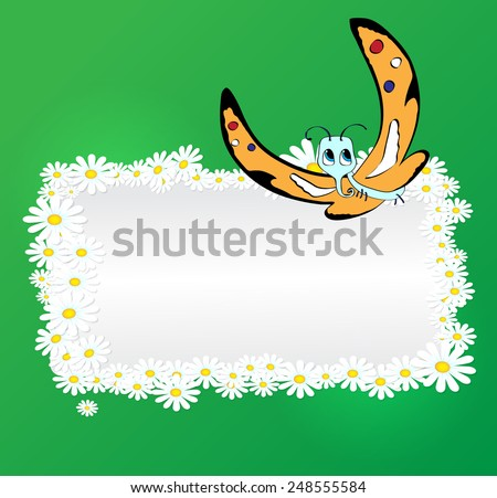 Vector romantic background with daisies and cartoon Butterfly  - stock vector