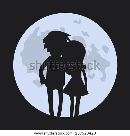 Vector romantic card with couple silhouettes in love and moon - stock vector