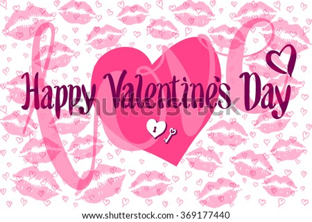 Vector Romantic Card with Heart consist of Prints of Lips happy valentines day kiss - stock vector