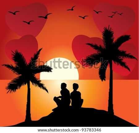 vector romantic couple and clouds in the shape of hearts