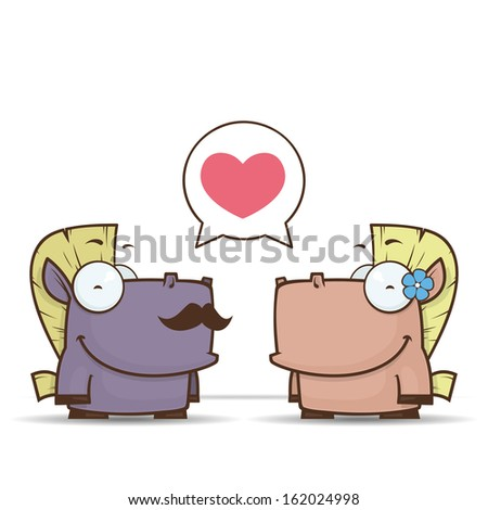 Vector romantic illustration with cute cartoon horses. - stock vector