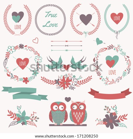 Vector romantic set with bouquets, birds, hearts, arrows, ribbons, wreaths, flowers, bows, laurel and owls in love. Can be used for Valentine's Day or wedding - stock vector