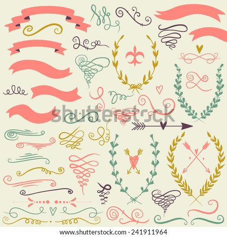 Vector  romantic set with labels, ribbons, hearts, flowers, wreaths and laurel . Set in retro style. - stock vector