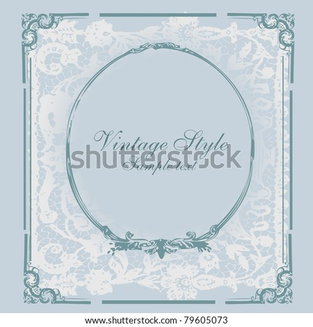 vector romantic vintage styled   card with floral ornament illustration background - stock vector