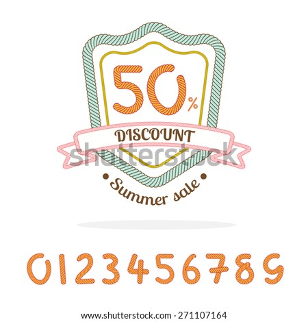 Vector : Rope sale badge logo,Bonus : 0-9 number for made sale percent by yourself,Marketing element - stock vector