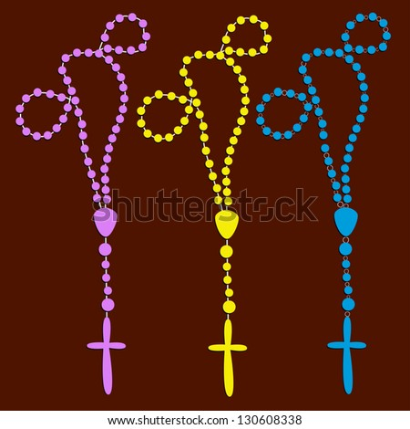 Vector Rosary set - stock vector