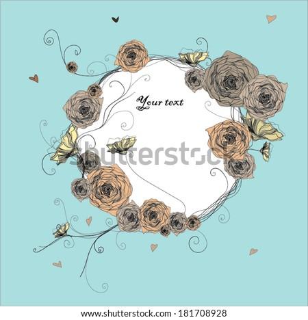Vector rose circlet on blue background. Vector illustration. Greeting card or invitation card.Vector illustration - stock vector