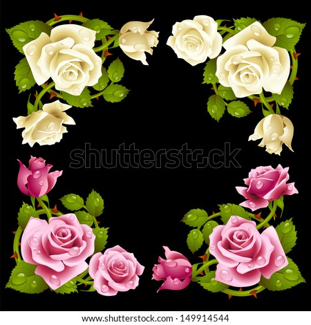 Vector rose corner isolated on black background. Pink and white flowers - stock vector