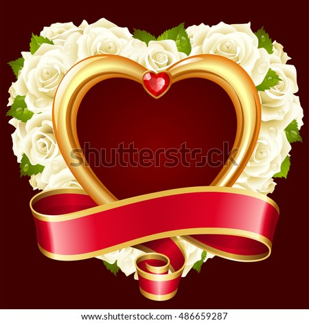 Vector rose frame in the shape of heart. White flowers, ribbon, golden border and red diamond