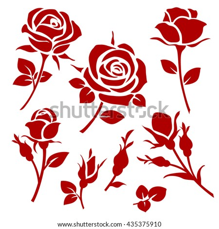 Vector rose icon. Spring decorative rose and bud silhouettes - stock vector