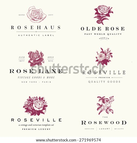 Vector rose label set. - stock vector
