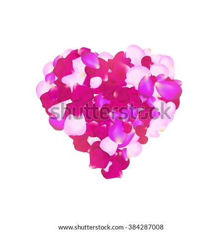 Vector rose petals heart. Can be used for creating postcards, wedding albums, footage etc. Gradient mesh