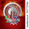 Vector roulette wheel with with casino element - stock photo