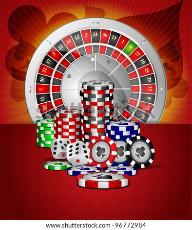 Vector roulette wheel with with casino element - stock vector