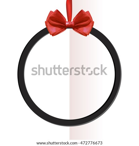 VECTOR round black frame with realistic red silk bow on folded paper background.